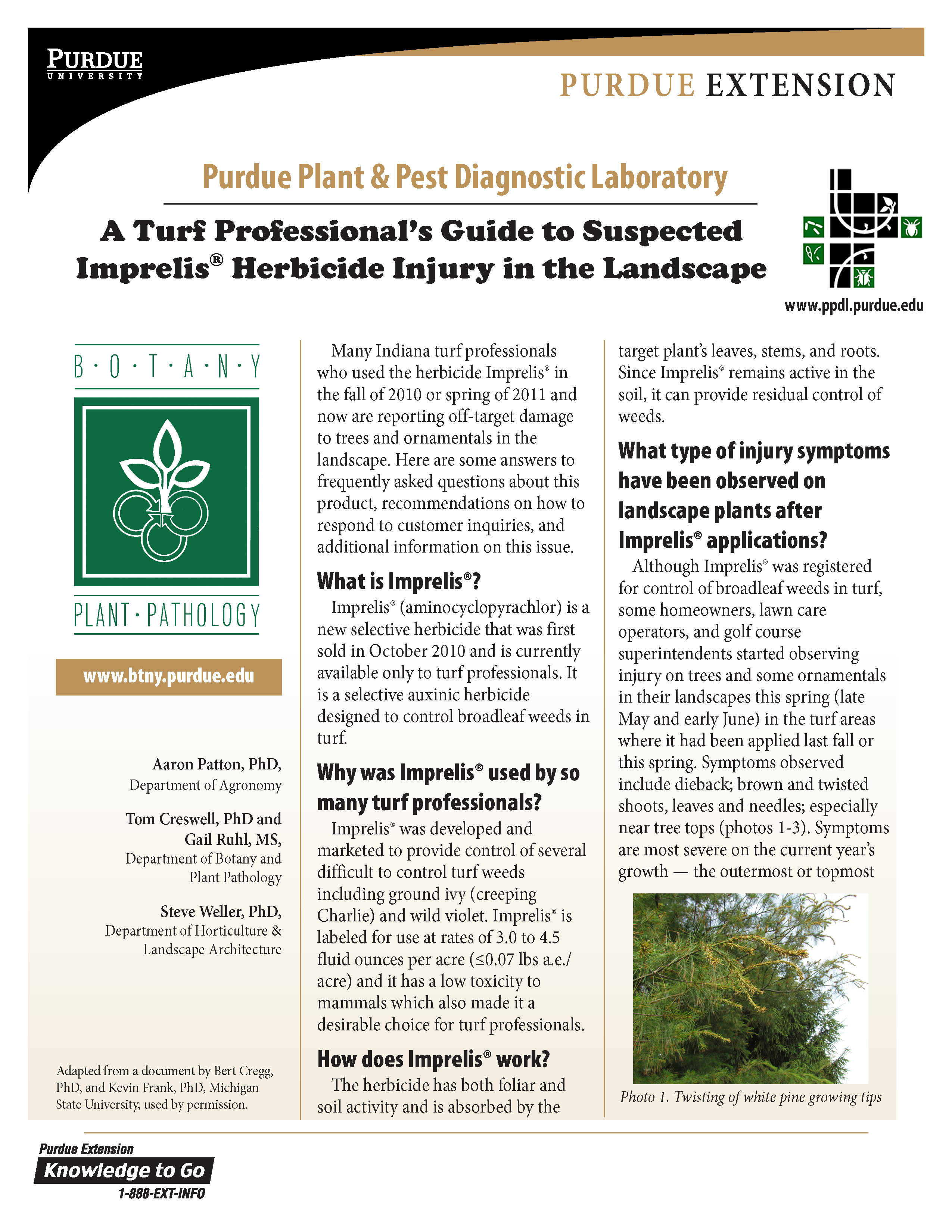 Purdue Publication on Imprelis Herbicide